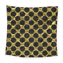 Circles2 Black Marble & Gold Foil (r) Square Tapestry (large) by trendistuff