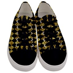 Diamond1 Black Marble & Gold Foil Men s Low Top Canvas Sneakers