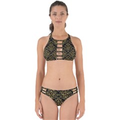 Damask1 Black Marble & Gold Foil Perfectly Cut Out Bikini Set
