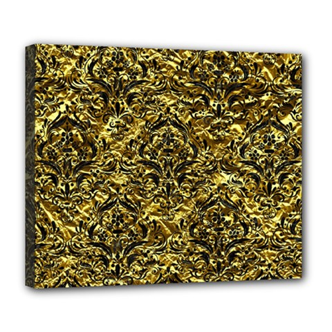 Damask1 Black Marble & Gold Foil (r) Deluxe Canvas 24  X 20   by trendistuff