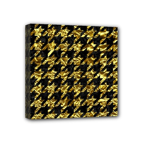 Houndstooth1 Black Marble & Gold Foil Mini Canvas 4  X 4  by trendistuff