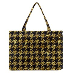Houndstooth1 Black Marble & Gold Foil Zipper Medium Tote Bag by trendistuff