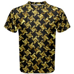 Houndstooth2 Black Marble & Gold Foil Men s Cotton Tee by trendistuff