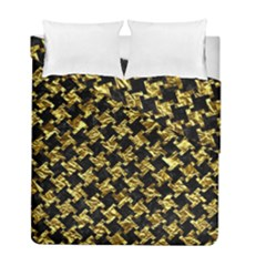 Houndstooth2 Black Marble & Gold Foil Duvet Cover Double Side (full/ Double Size)