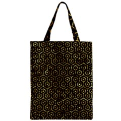 Hexagon1 Black Marble & Gold Foil Zipper Classic Tote Bag by trendistuff