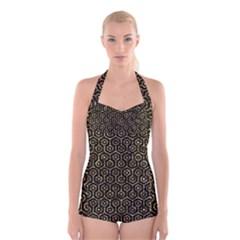Hexagon1 Black Marble & Gold Foil Boyleg Halter Swimsuit