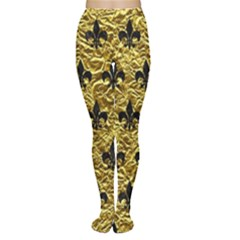 Royal1 Black Marble & Gold Foil Women s Tights by trendistuff