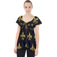 Royal1 Black Marble & Gold Foil (r) Lace Front Dolly Top by trendistuff