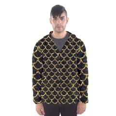 Scales1 Black Marble & Gold Foil Hooded Wind Breaker (men)