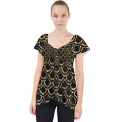 Scales2 Black Marble & Gold Foil Lace Front Dolly Top