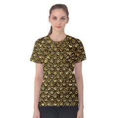 Scales2 Black Marble & Gold Foil (r) Women s Cotton Tee