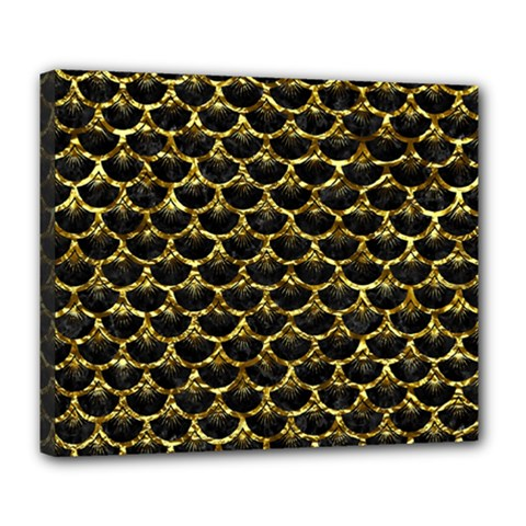 Scales3 Black Marble & Gold Foil Deluxe Canvas 24  X 20   by trendistuff