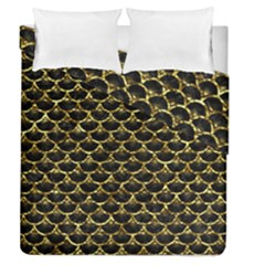 Scales3 Black Marble & Gold Foil Duvet Cover Double Side (queen Size) by trendistuff