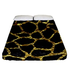 Skin1 Black Marble & Gold Foil (r) Fitted Sheet (queen Size) by trendistuff