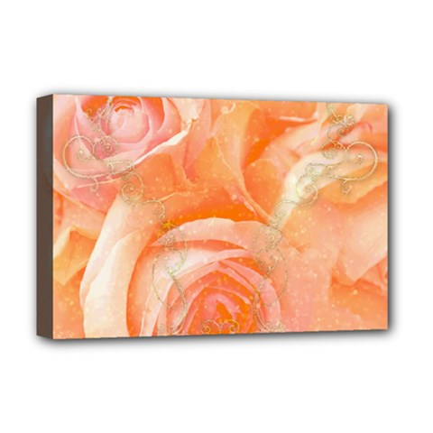 Flower Power, Wonderful Roses, Vintage Design Deluxe Canvas 18  X 12   by FantasyWorld7