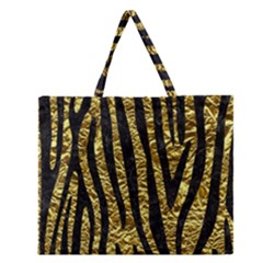 Skin4 Black Marble & Gold Foil Zipper Large Tote Bag by trendistuff