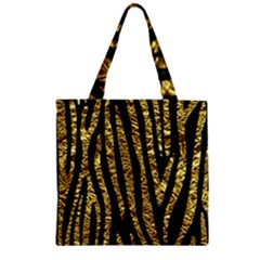Skin4 Black Marble & Gold Foil (r) Zipper Grocery Tote Bag by trendistuff