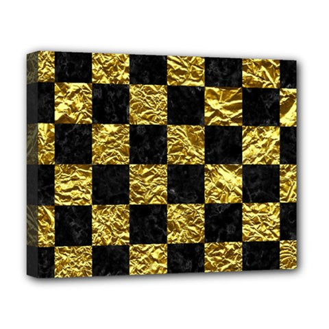 Square1 Black Marble & Gold Foil Deluxe Canvas 20  X 16   by trendistuff