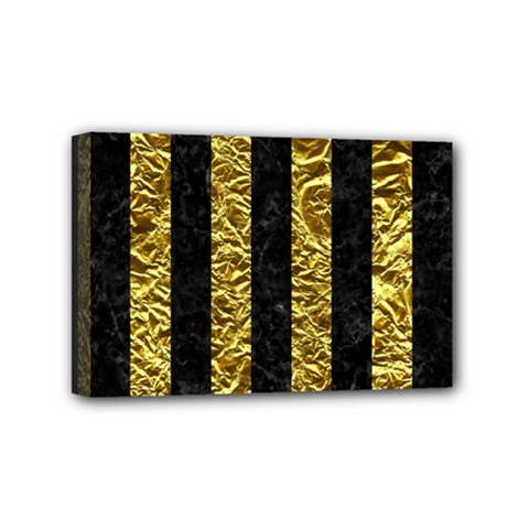 Stripes1 Black Marble & Gold Foil Mini Canvas 6  X 4  by trendistuff