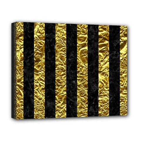 Stripes1 Black Marble & Gold Foil Deluxe Canvas 20  X 16   by trendistuff