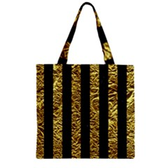 Stripes1 Black Marble & Gold Foil Zipper Grocery Tote Bag by trendistuff
