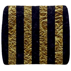 Stripes1 Black Marble & Gold Foil Back Support Cushion by trendistuff