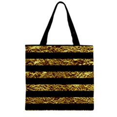 Stripes2 Black Marble & Gold Foil Zipper Grocery Tote Bag by trendistuff