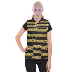 Stripes2 Black Marble & Gold Foil Women s Button Up Puffer Vest