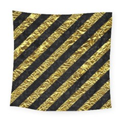 Stripes3 Black Marble & Gold Foil Square Tapestry (large) by trendistuff