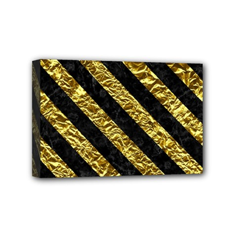 Stripes3 Black Marble & Gold Foil (r) Mini Canvas 6  X 4  by trendistuff