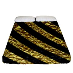 Stripes3 Black Marble & Gold Foil (r) Fitted Sheet (queen Size) by trendistuff