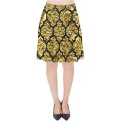 Tile1 Black Marble & Gold Foil (r) Velvet High Waist Skirt by trendistuff
