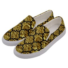 Tile1 Black Marble & Gold Foil (r) Men s Canvas Slip Ons by trendistuff