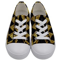 Triangle2 Black Marble & Gold Foil Kids  Low Top Canvas Sneakers