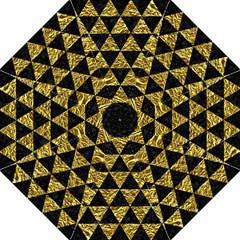 Triangle3 Black Marble & Gold Foil Folding Umbrellas by trendistuff