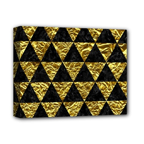 Triangle3 Black Marble & Gold Foil Deluxe Canvas 14  X 11  by trendistuff