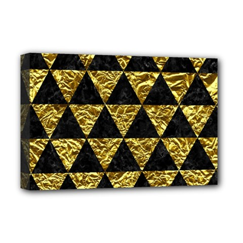 Triangle3 Black Marble & Gold Foil Deluxe Canvas 18  X 12   by trendistuff