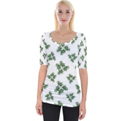Nature Motif Pattern Design Wide Neckline Tee