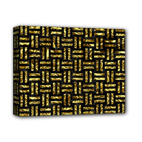 Woven1 Black Marble & Gold Foil Deluxe Canvas 14  X 11  by trendistuff