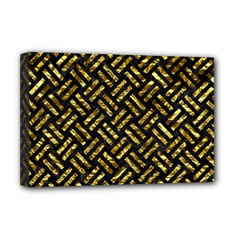 Woven2 Black Marble & Gold Foil Deluxe Canvas 18  X 12   by trendistuff