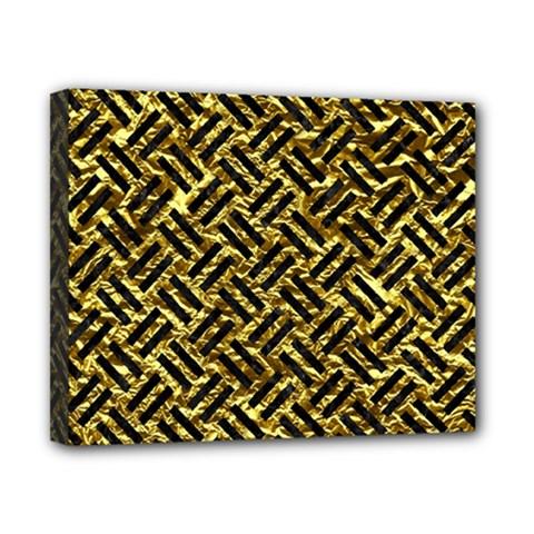 Woven2 Black Marble & Gold Foil (r) Canvas 10  X 8  by trendistuff