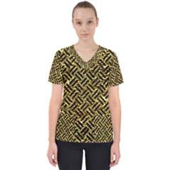 Woven2 Black Marble & Gold Foil (r) Scrub Top