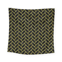 Brick2 Black Marble & Gold Glitter Square Tapestry (small) by trendistuff