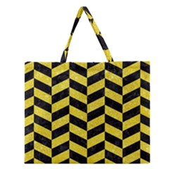 Chevron1 Black Marble & Gold Glitter Zipper Large Tote Bag by trendistuff