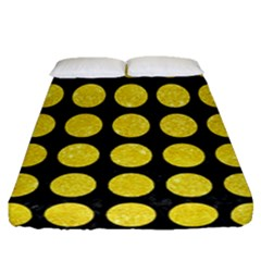 Circles1 Black Marble & Gold Glitter Fitted Sheet (queen Size) by trendistuff