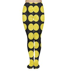 Circles1 Black Marble & Gold Glitter Women s Tights by trendistuff