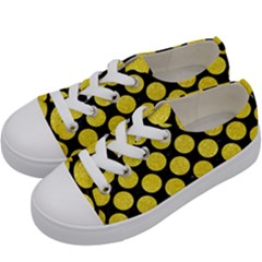 Circles2 Black Marble & Gold Glitter Kids  Low Top Canvas Sneakers by trendistuff