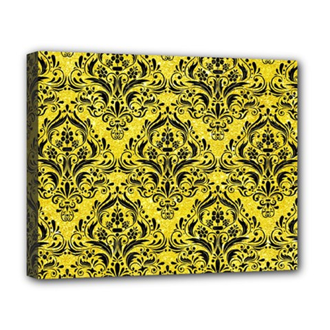 Damask1 Black Marble & Gold Glitter (r) Deluxe Canvas 20  X 16   by trendistuff