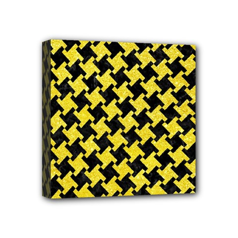 Houndstooth2 Black Marble & Gold Glitter Mini Canvas 4  X 4  by trendistuff
