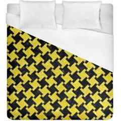 Houndstooth2 Black Marble & Gold Glitter Duvet Cover (king Size) by trendistuff